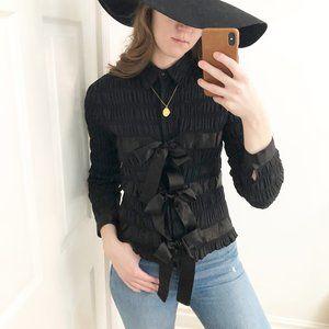 Anne Fontaine Paris Black Ruched Bow Button Down